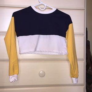 Throwback Navy White & Yellow Crop Top